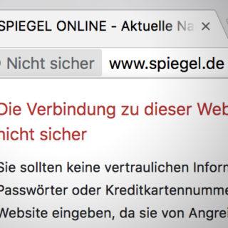 Google Chrome: Die Verbindung zu dieser Website ist nicht sicher