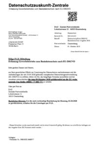 Fax DAZ Datenschutzauskunft-Zentrale Seite 1